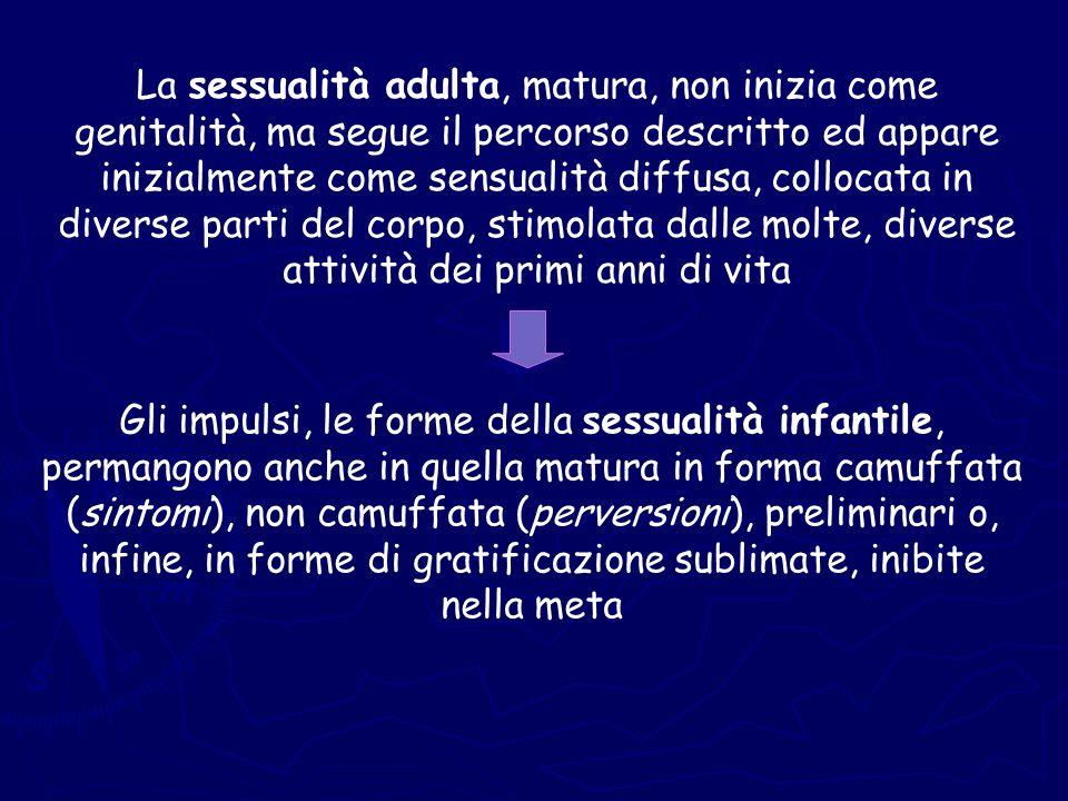 La sessualità adulta, matura, non inizia come genitalità, ma segue il percorso descritto ed appare inizialmente come sensualità diffusa, collocata in