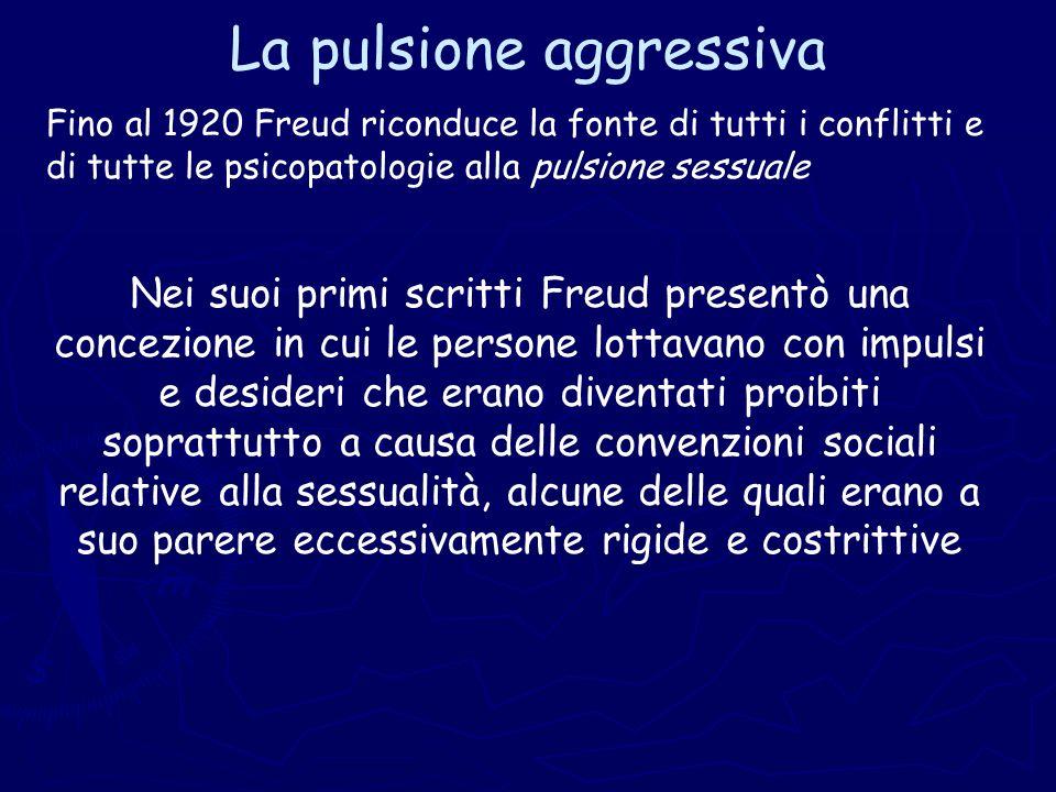 La pulsione aggressiva Fino al 1920 Freud riconduce la fonte di tutti i conflitti e di tutte le psicopatologie alla pulsione sessuale Nei suoi primi s