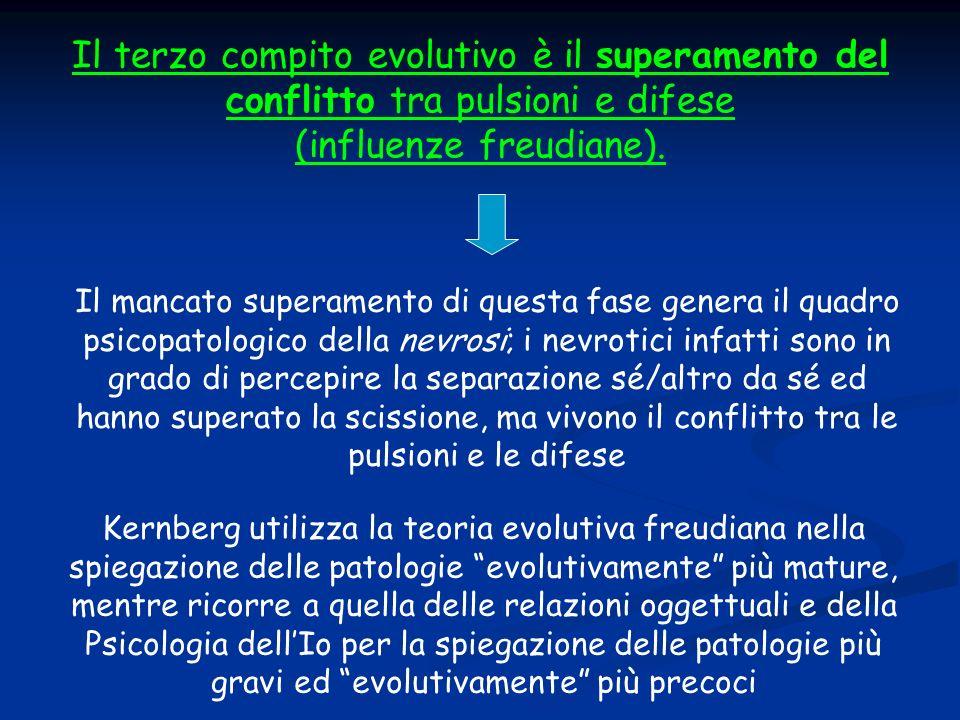 Il terzo compito evolutivo è il superamento del conflitto tra pulsioni e difese (influenze freudiane). Il mancato superamento di questa fase genera il