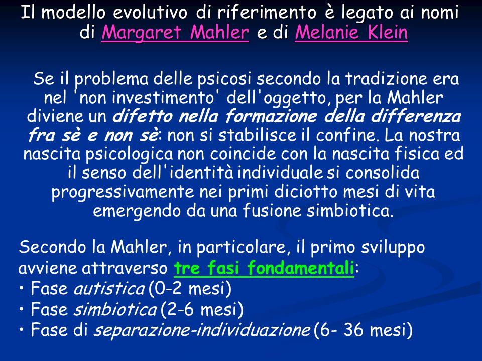 Il modello evolutivo di riferimento è legato ai nomi di Margaret Mahler e di Melanie Klein Il modello evolutivo di riferimento è legato ai nomi di Mar