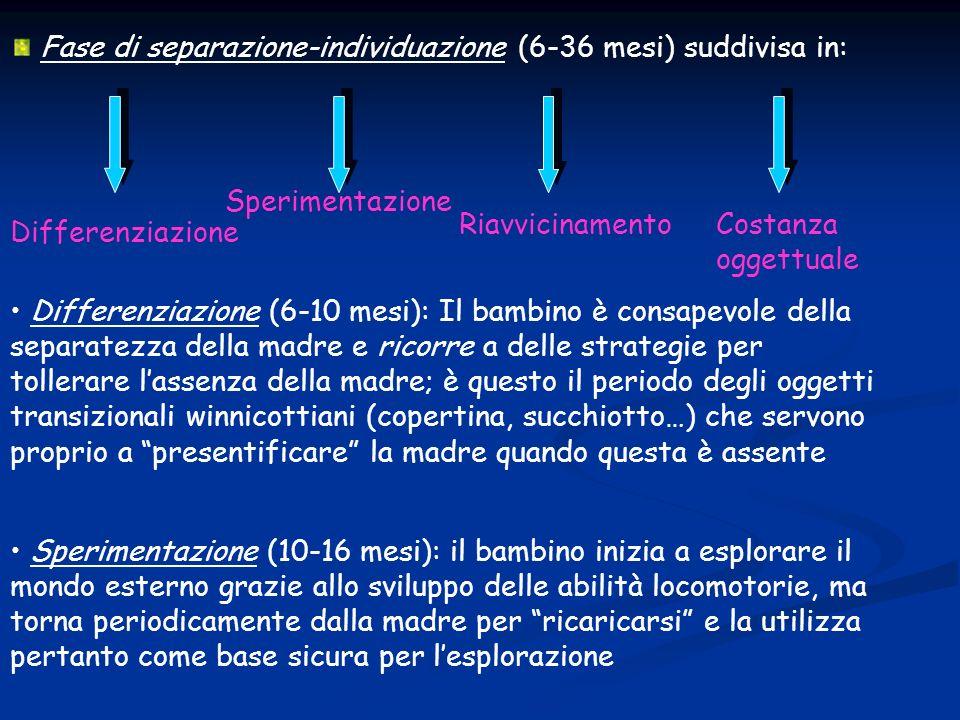 Fase di separazione-individuazione (6-36 mesi) suddivisa in: Differenziazione Sperimentazione RiavvicinamentoCostanza oggettuale Differenziazione (6-1