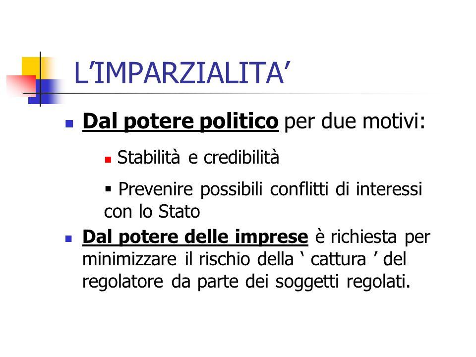 LIMPARZIALITA Dal potere politico per due motivi: Dal potere delle imprese è richiesta per minimizzare il rischio della cattura del regolatore da parte dei soggetti regolati.
