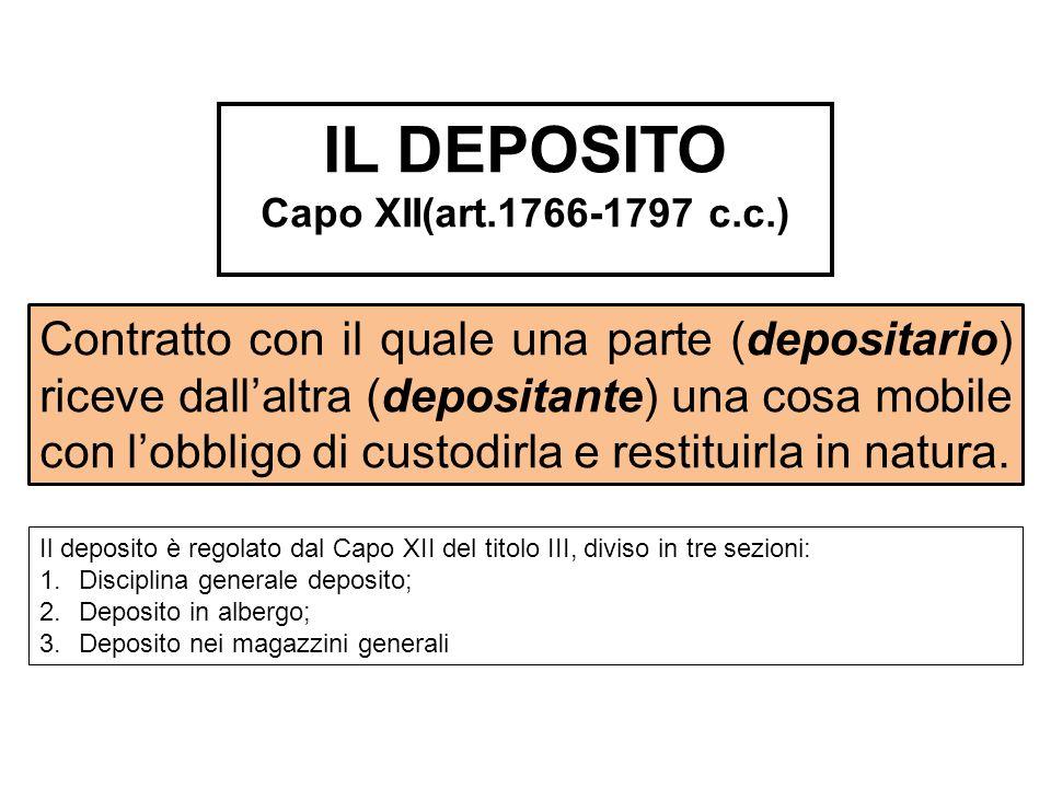 Contratto con il quale una parte (depositario) riceve dallaltra (depositante) una cosa mobile con lobbligo di custodirla e restituirla in natura. IL D