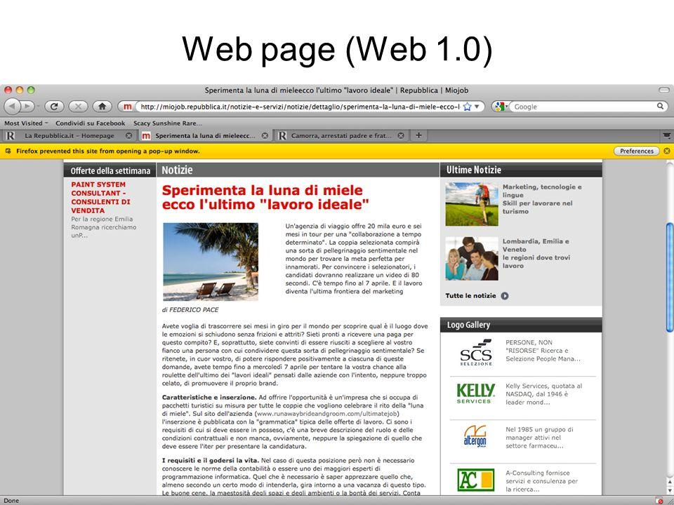 Web page (Web 1.0) Rielaborato da Atzeni et al., Basi di Dati, Mc-Graw Hill 10