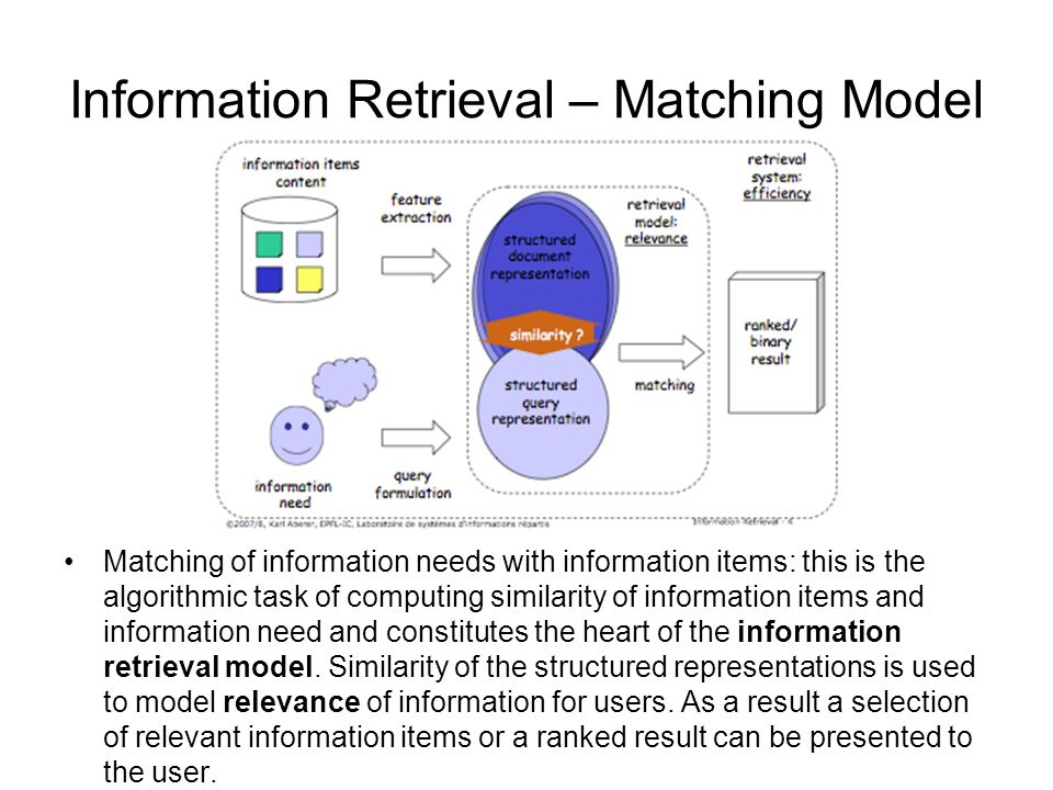 Information Retrieval – Matching Model Matching of information needs with information items: this is the algorithmic task of computing similarity of information items and information need and constitutes the heart of the information retrieval model.