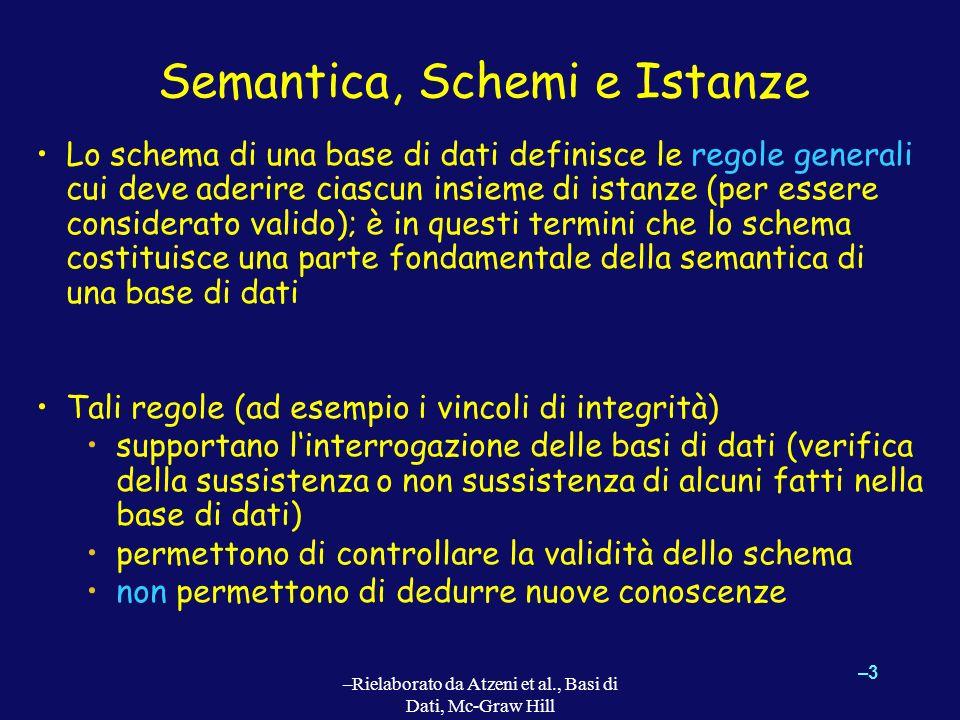 –3–3 –Rielaborato da Atzeni et al., Basi di Dati, Mc-Graw Hill Semantica, Schemi e Istanze Lo schema di una base di dati definisce le regole generali cui deve aderire ciascun insieme di istanze (per essere considerato valido); è in questi termini che lo schema costituisce una parte fondamentale della semantica di una base di dati Tali regole (ad esempio i vincoli di integrità) supportano linterrogazione delle basi di dati (verifica della sussistenza o non sussistenza di alcuni fatti nella base di dati) permettono di controllare la validità dello schema non permettono di dedurre nuove conoscenze