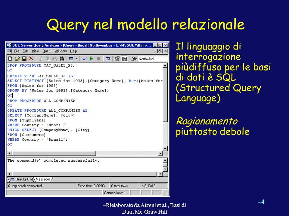 –4–4 –Rielaborato da Atzeni et al., Basi di Dati, Mc-Graw Hill Query nel modello relazionale Il linguaggio di interrogazione piùdiffuso per le basi di dati è SQL (Structured Query Language) Ragionamento piuttosto debole