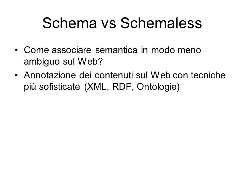 Schema vs Schemaless Come associare semantica in modo meno ambiguo sul Web.