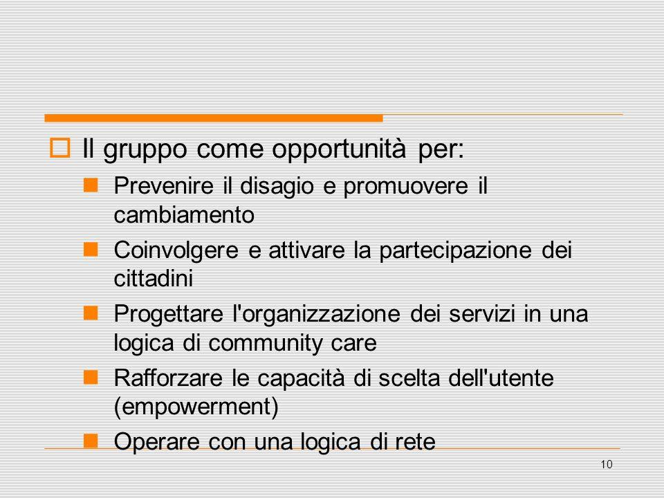 10 Il gruppo come opportunità per: Prevenire il disagio e promuovere il cambiamento Coinvolgere e attivare la partecipazione dei cittadini Progettare