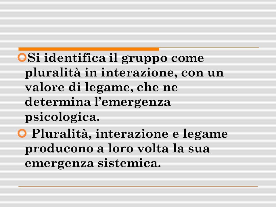 Si identifica il gruppo come pluralità in interazione, con un valore di legame, che ne determina lemergenza psicologica. Pluralità, interazione e lega