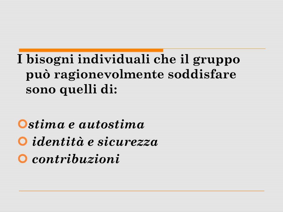 I bisogni individuali che il gruppo può ragionevolmente soddisfare sono quelli di: stima e autostima identità e sicurezza contribuzioni