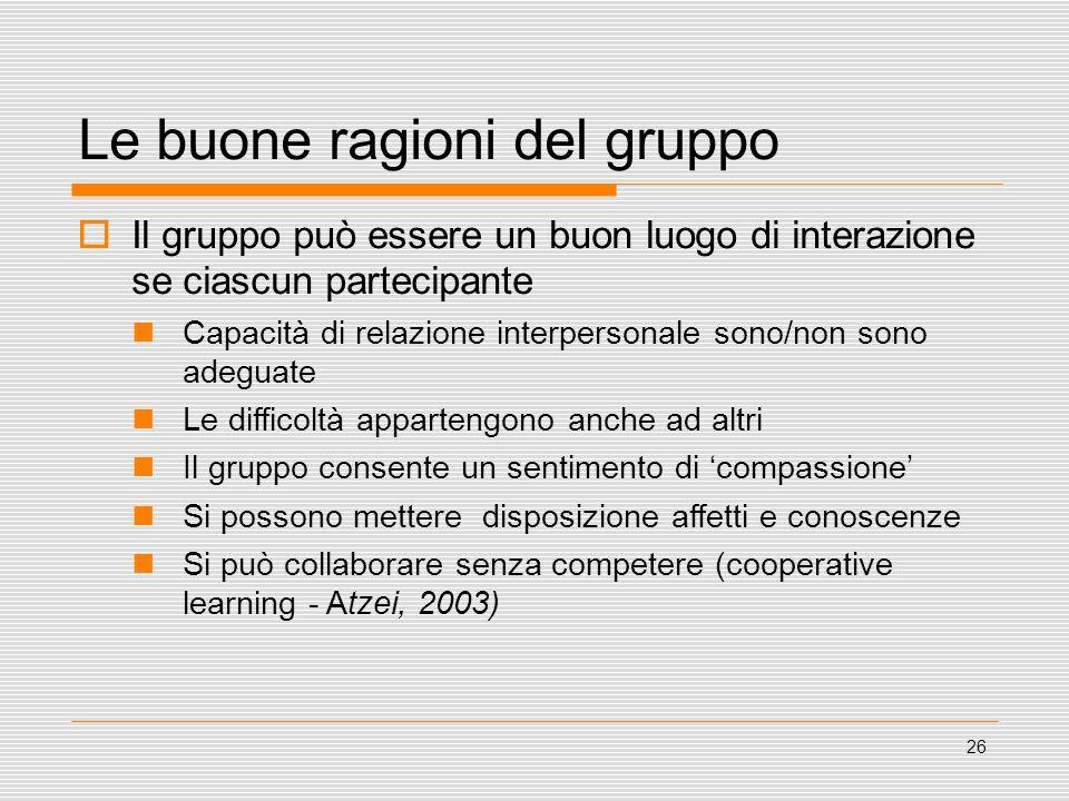 26 Le buone ragioni del gruppo Il gruppo può essere un buon luogo di interazione se ciascun partecipante Capacità di relazione interpersonale sono/non
