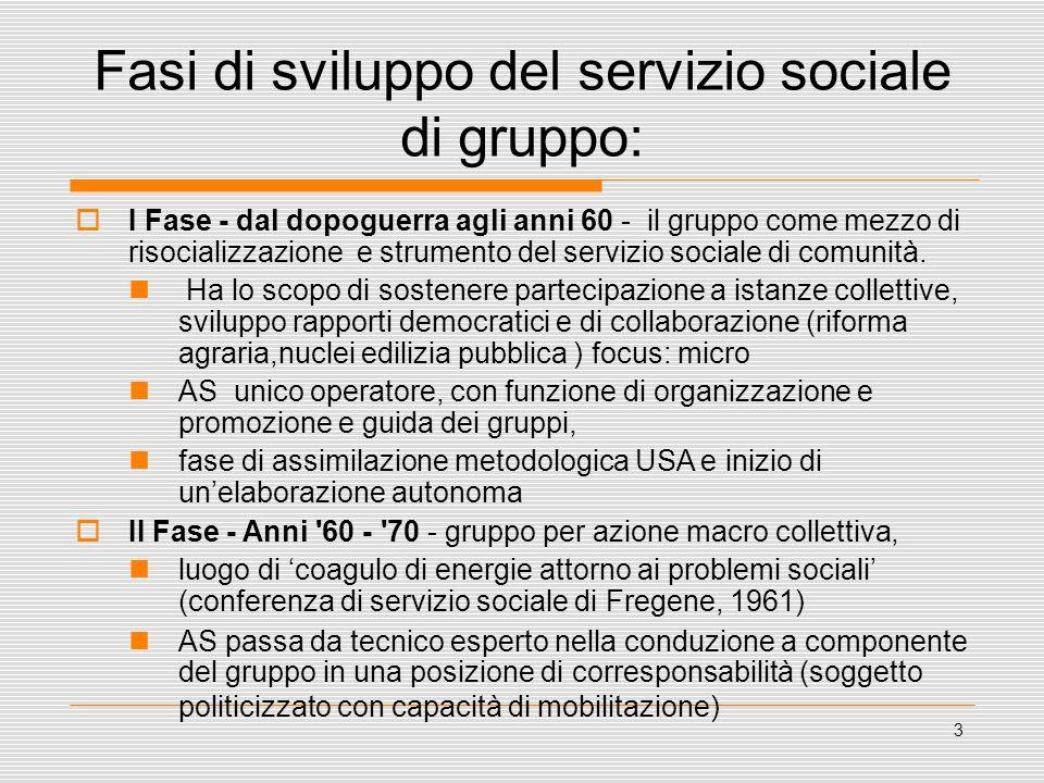 3 Fasi di sviluppo del servizio sociale di gruppo: I Fase - dal dopoguerra agli anni 60 - il gruppo come mezzo di risocializzazione e strumento del se