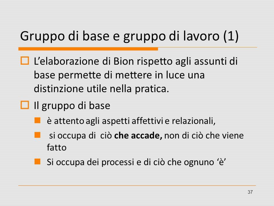 Gruppo di base e gruppo di lavoro (1) Lelaborazione di Bion rispetto agli assunti di base permette di mettere in luce una distinzione utile nella prat