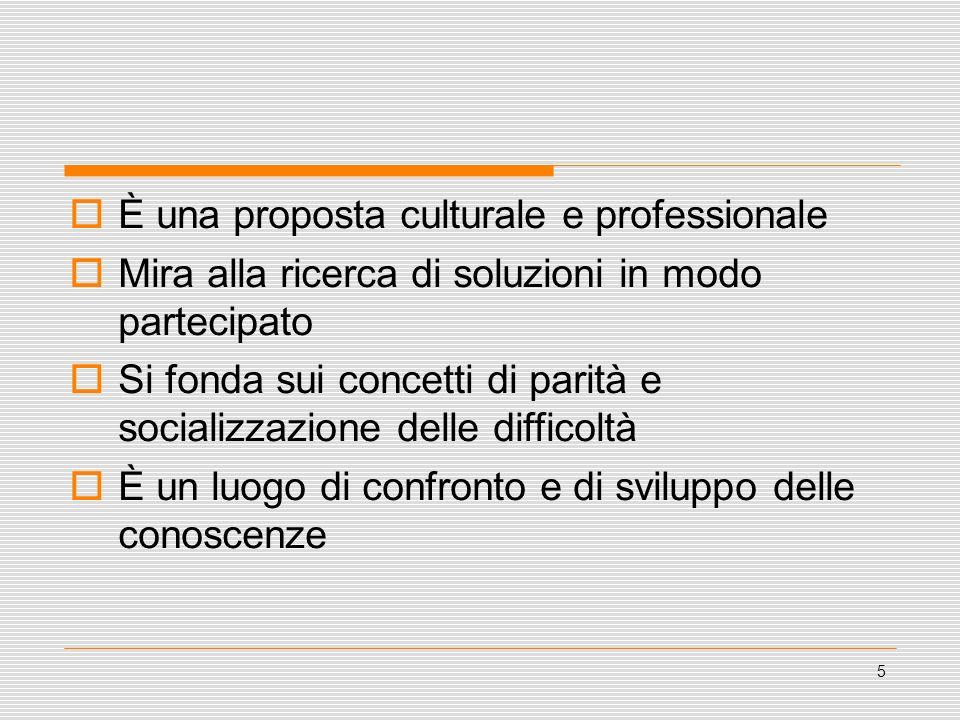 5 È una proposta culturale e professionale Mira alla ricerca di soluzioni in modo partecipato Si fonda sui concetti di parità e socializzazione delle