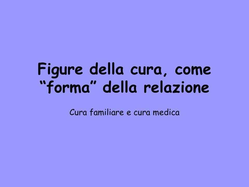 Figure della cura, come forma della relazione Cura familiare e cura medica