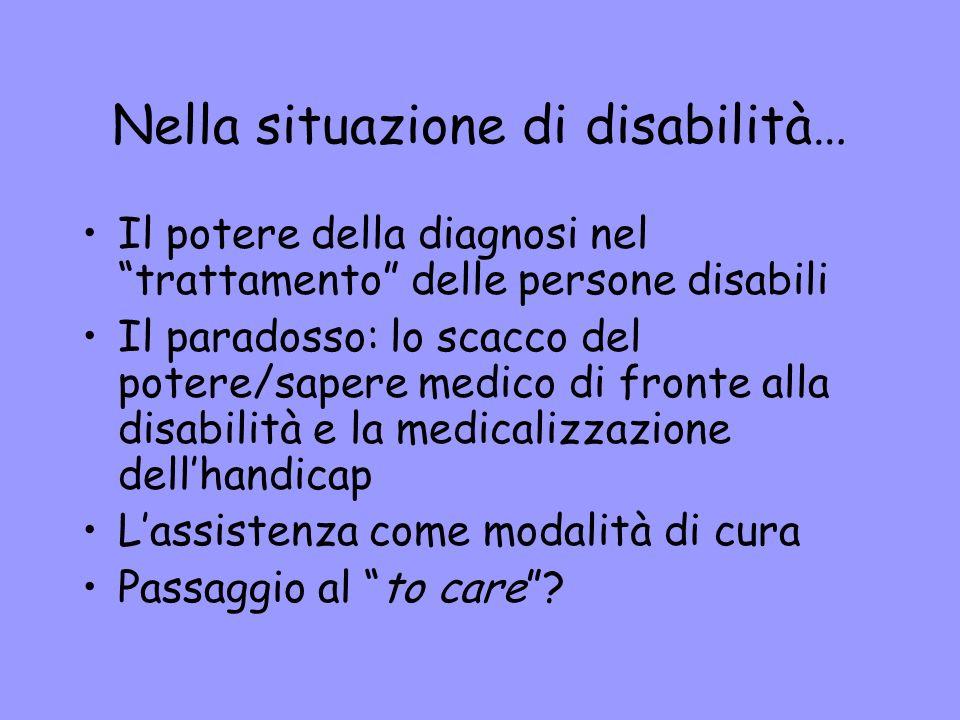 Nella situazione di disabilità… Il potere della diagnosi nel trattamento delle persone disabili Il paradosso: lo scacco del potere/sapere medico di fr