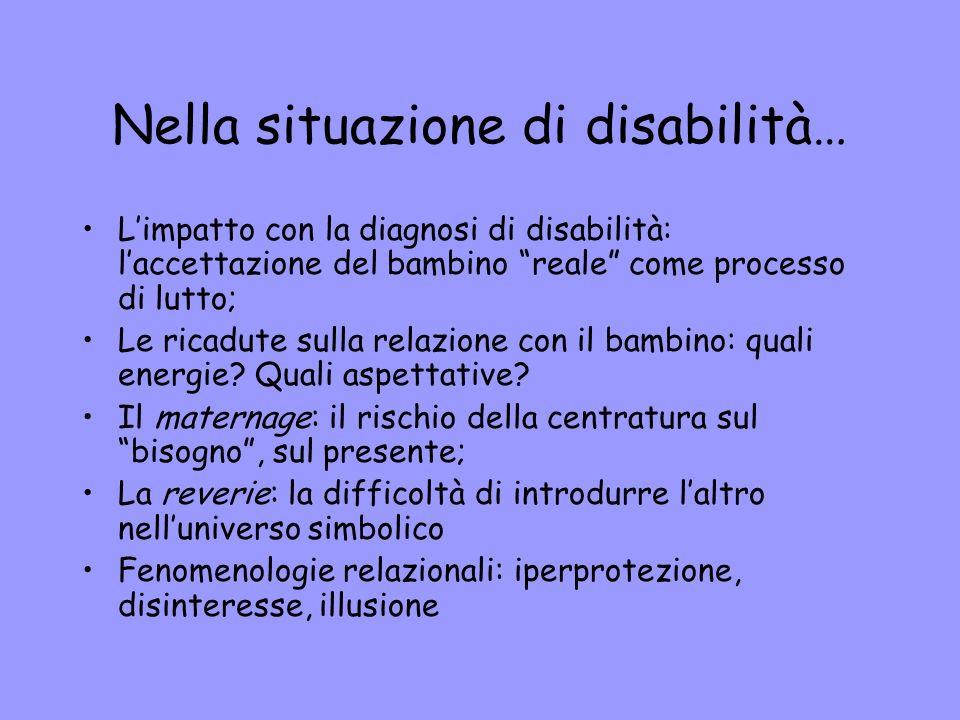Nella situazione di disabilità… Limpatto con la diagnosi di disabilità: laccettazione del bambino reale come processo di lutto; Le ricadute sulla rela