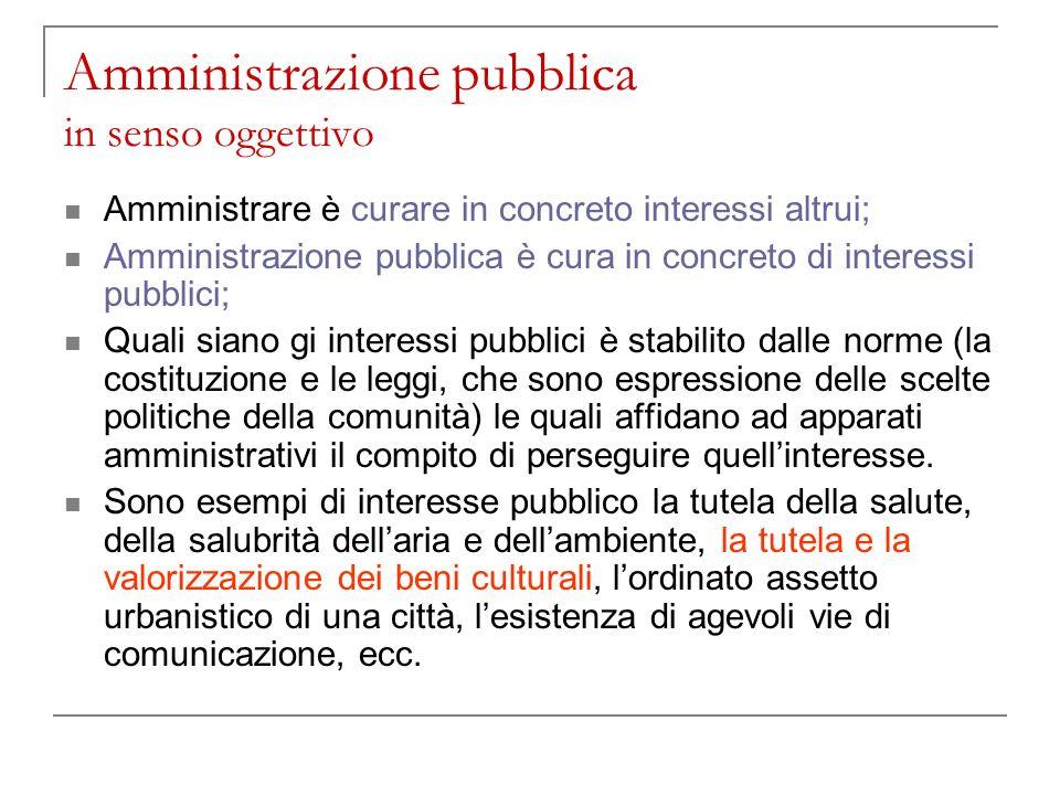 Amministrazione pubblica in senso oggettivo Amministrare è curare in concreto interessi altrui; Amministrazione pubblica è cura in concreto di interes