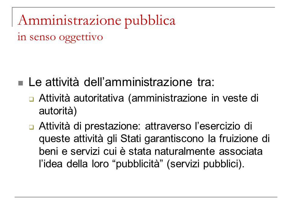 Amministrazione pubblica in senso oggettivo Le attività dellamministrazione tra: Attività autoritativa (amministrazione in veste di autorità) Attività