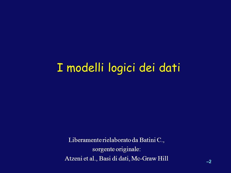 –2–2 Liberamente rielaborato da Batini C., sorgente originale: Atzeni et al., Basi di dati, Mc-Graw Hill I modelli logici dei dati