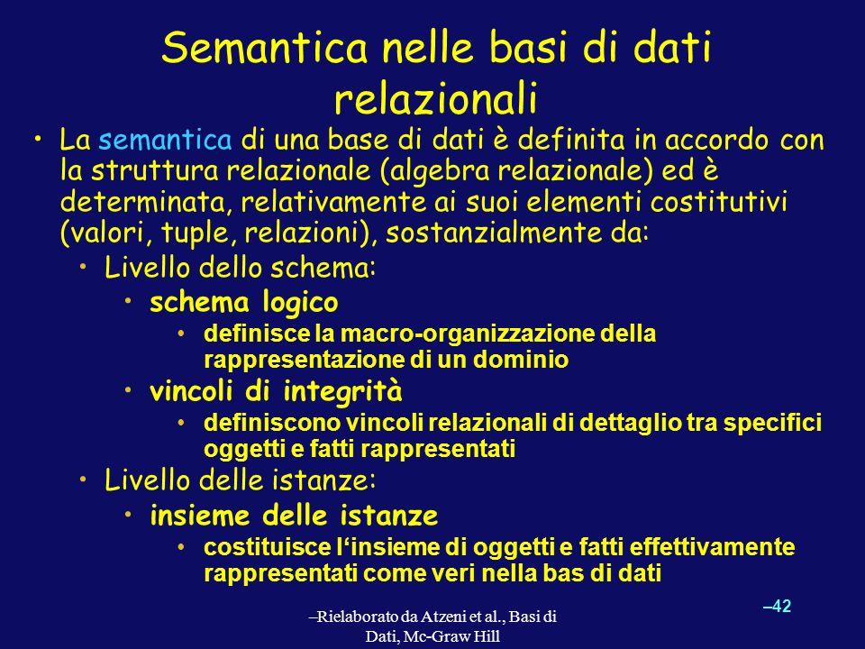 –42 –Rielaborato da Atzeni et al., Basi di Dati, Mc-Graw Hill Semantica nelle basi di dati relazionali La semantica di una base di dati è definita in