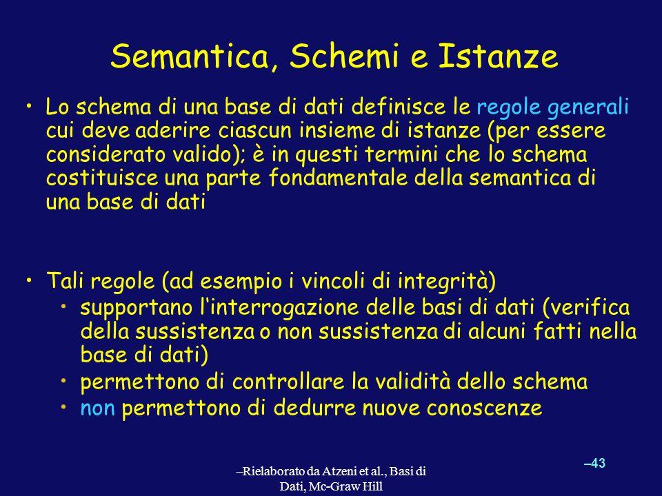 –43 –Rielaborato da Atzeni et al., Basi di Dati, Mc-Graw Hill Semantica, Schemi e Istanze Lo schema di una base di dati definisce le regole generali c