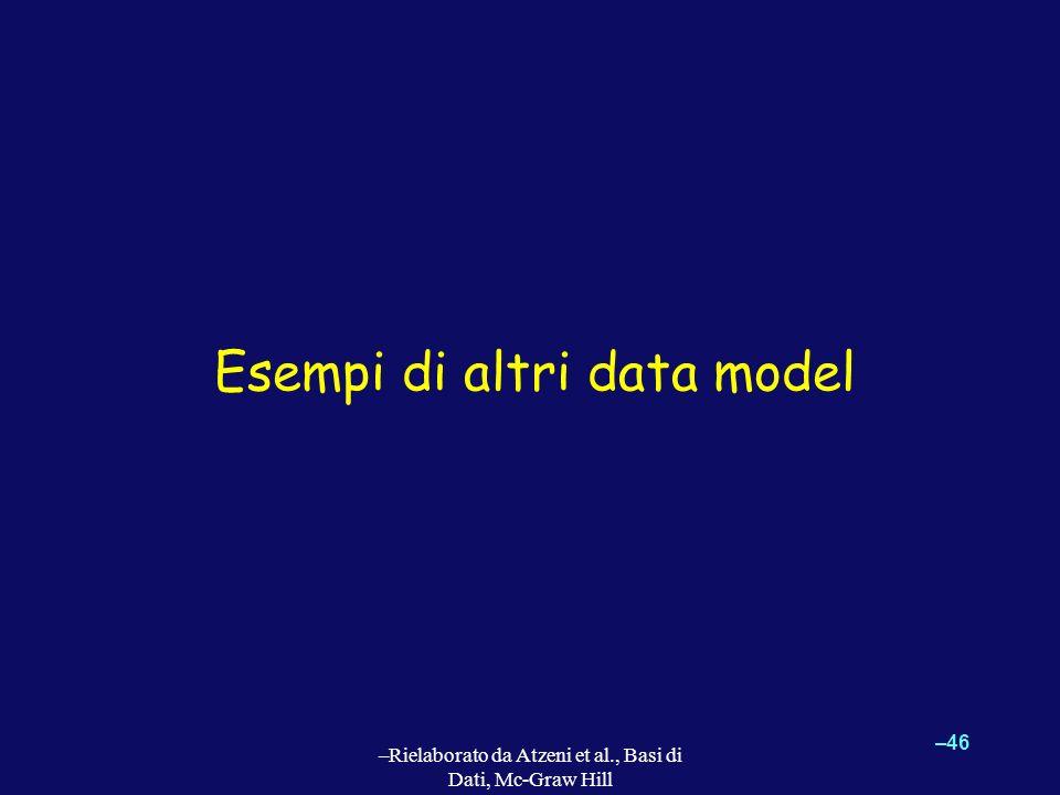 –46 –Rielaborato da Atzeni et al., Basi di Dati, Mc-Graw Hill Esempi di altri data model