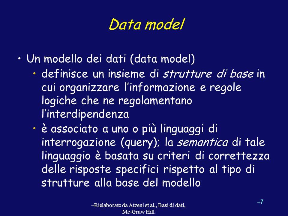 Data model Un modello dei dati (data model) definisce un insieme di strutture di base in cui organizzare linformazione e regole logiche che ne regolam