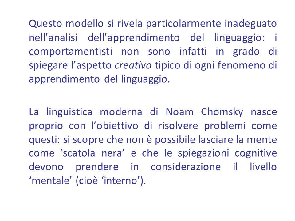 Questo modello si rivela particolarmente inadeguato nellanalisi dellapprendimento del linguaggio: i comportamentisti non sono infatti in grado di spiegare laspetto creativo tipico di ogni fenomeno di apprendimento del linguaggio.
