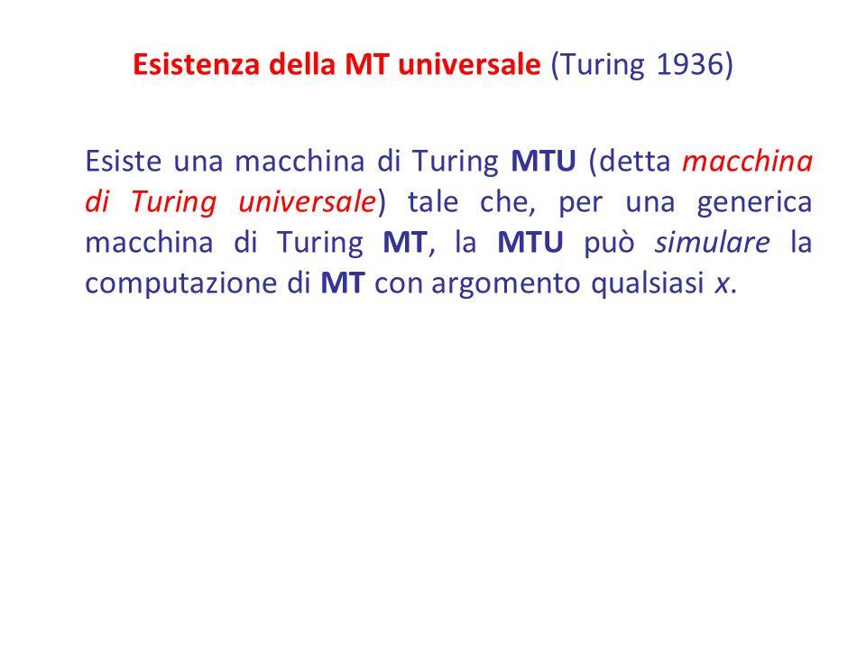 Esistenza della MT universale (Turing 1936) Esiste una macchina di Turing MTU (detta macchina di Turing universale) tale che, per una generica macchina di Turing MT, la MTU può simulare la computazione di MT con argomento qualsiasi x.