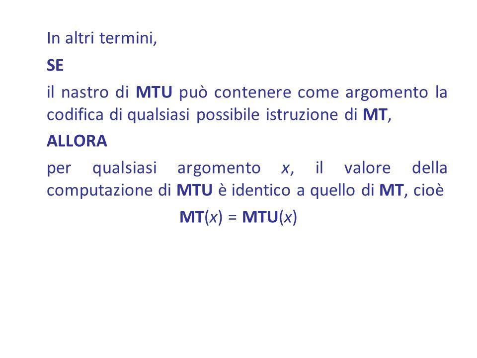 In altri termini, SE il nastro di MTU può contenere come argomento la codifica di qualsiasi possibile istruzione di MT, ALLORA per qualsiasi argomento x, il valore della computazione di MTU è identico a quello di MT, cioè MT(x) = MTU(x)