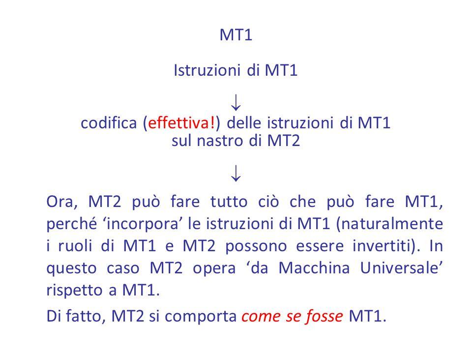 MT1 Istruzioni di MT1 codifica (effettiva!) delle istruzioni di MT1 sul nastro di MT2 Ora, MT2 può fare tutto ciò che può fare MT1, perché incorpora le istruzioni di MT1 (naturalmente i ruoli di MT1 e MT2 possono essere invertiti).