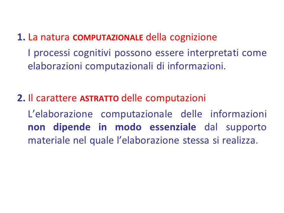 1. La natura COMPUTAZIONALE della cognizione I processi cognitivi possono essere interpretati come elaborazioni computazionali di informazioni. 2. Il