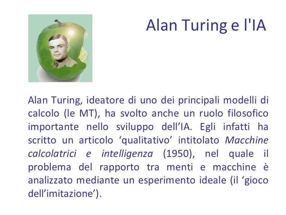 Alan Turing e l IA Alan Turing, ideatore di uno dei principali modelli di calcolo (le MT), ha svolto anche un ruolo filosofico importante nello sviluppo dellIA.