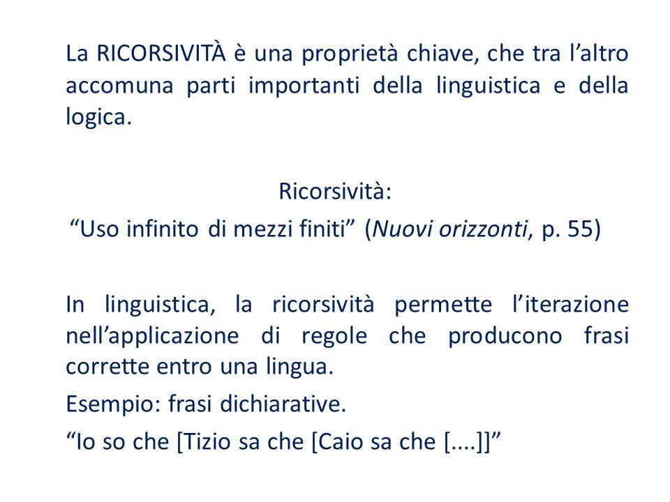 La RICORSIVITÀ è una proprietà chiave, che tra laltro accomuna parti importanti della linguistica e della logica.