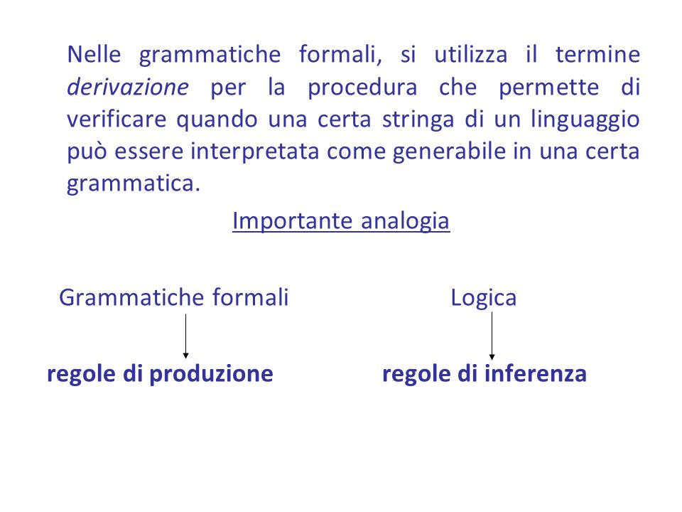 Nelle grammatiche formali, si utilizza il termine derivazione per la procedura che permette di verificare quando una certa stringa di un linguaggio può essere interpretata come generabile in una certa grammatica.