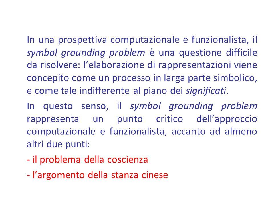In una prospettiva computazionale e funzionalista, il symbol grounding problem è una questione difficile da risolvere: lelaborazione di rappresentazioni viene concepito come un processo in larga parte simbolico, e come tale indifferente al piano dei significati.