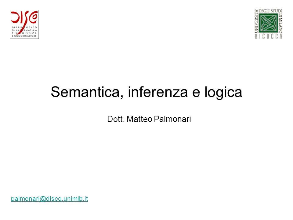 Semantica, inferenza e logica palmonari@disco.unimib.it Dott. Matteo Palmonari