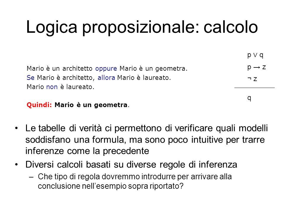 Logica proposizionale: calcolo Le tabelle di verità ci permettono di verificare quali modelli soddisfano una formula, ma sono poco intuitive per trarr