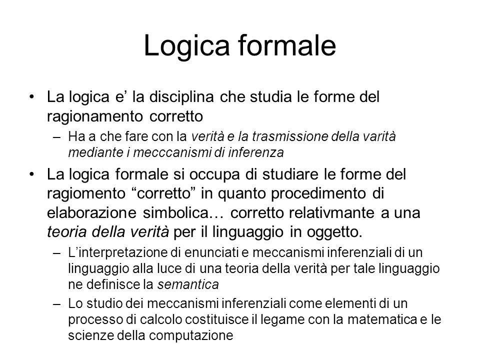 Logica formale La logica e la disciplina che studia le forme del ragionamento corretto –Ha a che fare con la verità e la trasmissione della varità med