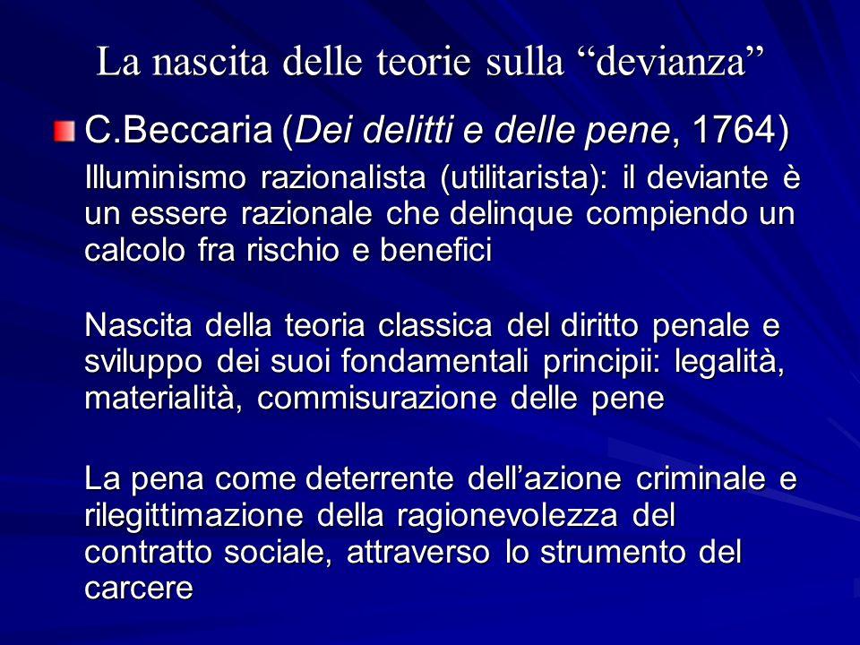 La nascita delle teorie sulla devianza C.Lombroso (Luomo delinquente, 1876) Avvento del Positivismo: la realtà si studia con il metodo delle scienze naturali.