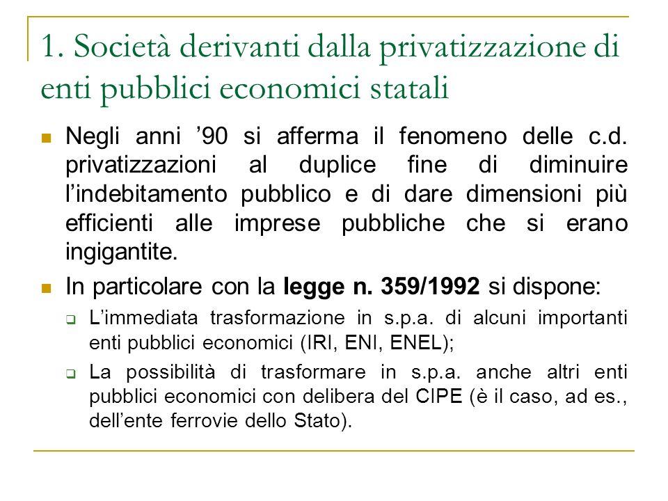 1. Società derivanti dalla privatizzazione di enti pubblici economici statali Negli anni 90 si afferma il fenomeno delle c.d. privatizzazioni al dupli