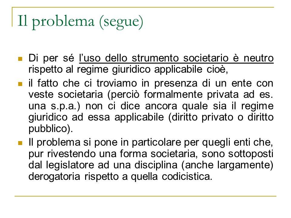La rilevanza del problema in alcuni casi concreti e le soluzioni della giurisprudenza Il caso di Ferrovie dello Stato s.p.a.