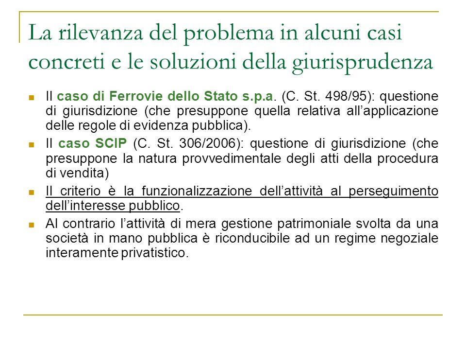 La rilevanza del problema in alcuni casi concreti e le soluzioni della giurisprudenza Il caso di Ferrovie dello Stato s.p.a. (C. St. 498/95): question
