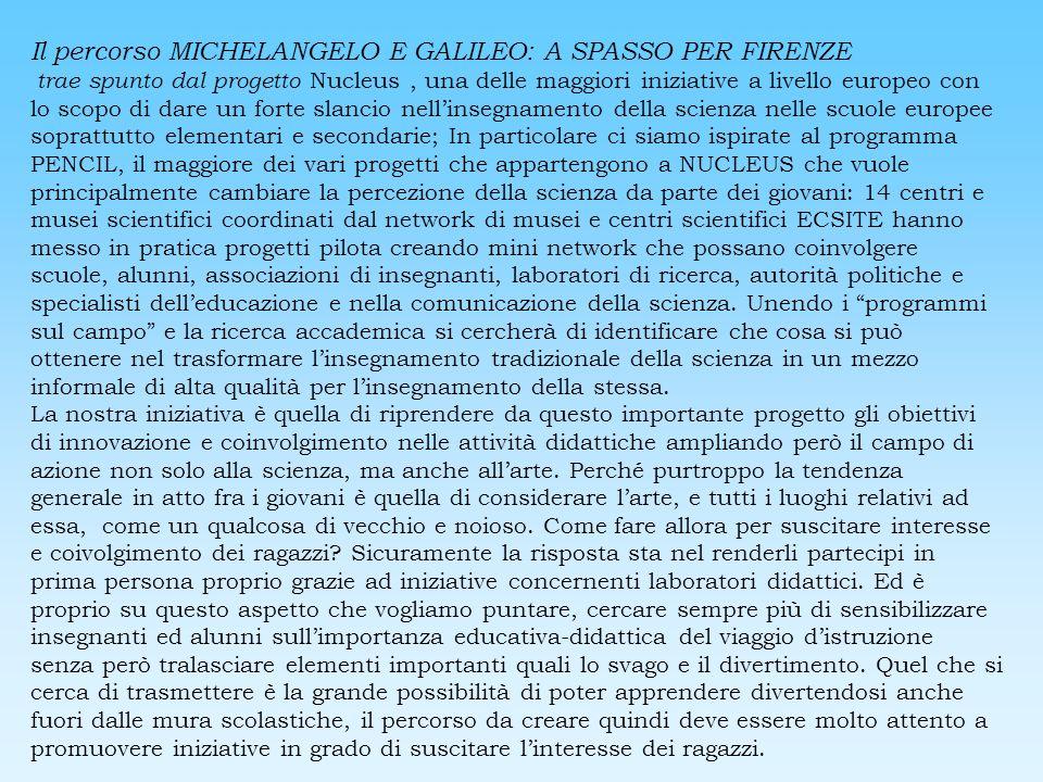 Il percorso MICHELANGELO E GALILEO: A SPASSO PER FIRENZE trae spunto dal progetto Nucleus, una delle maggiori iniziative a livello europeo con lo scop