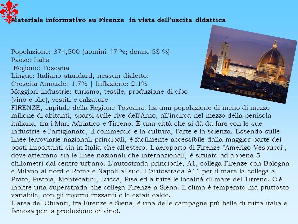 Materiale informativo su Firenze in vista delluscita didattica Popolazione: 374,500 (uomini 47 %; donne 53 %) Paese: Italia Regione: Toscana Lingue: I