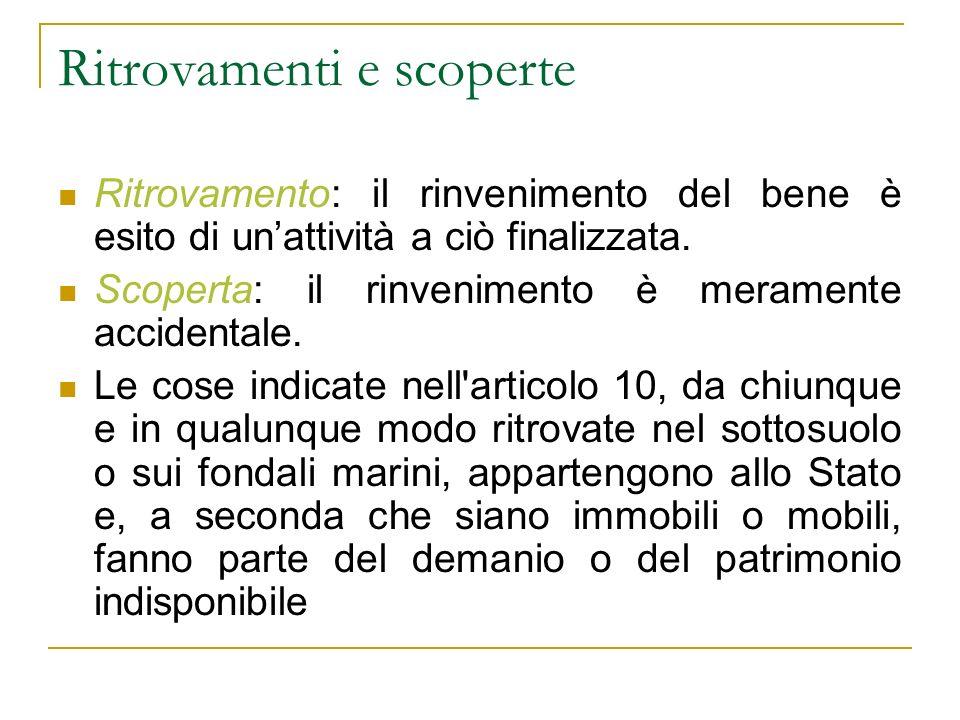 Ritrovamenti e scoperte Ritrovamento: il rinvenimento del bene è esito di unattività a ciò finalizzata.