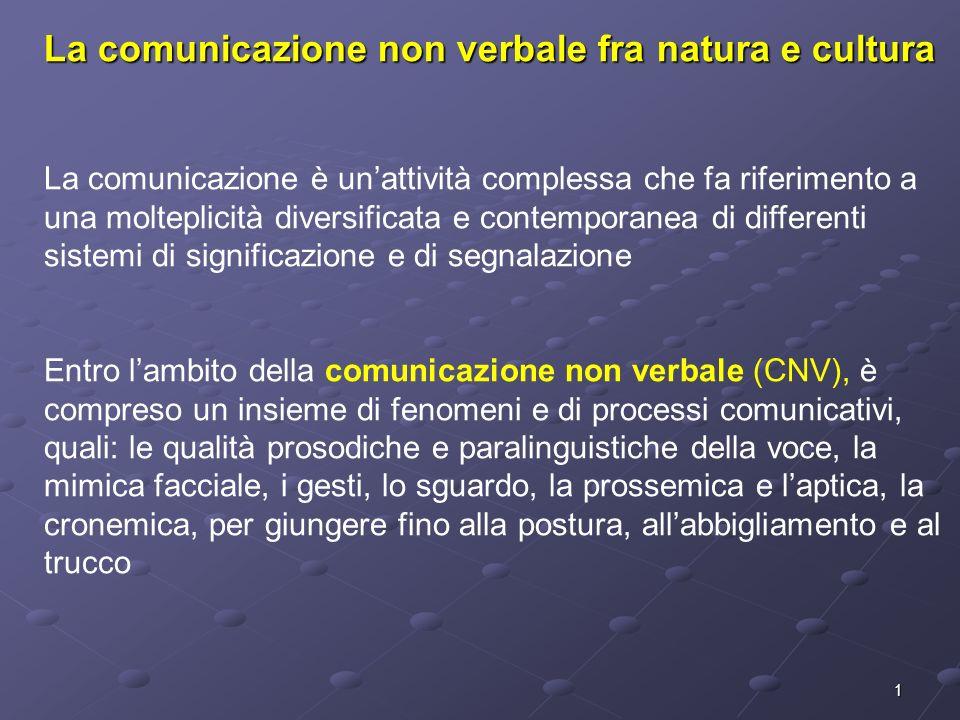 2 Origine della CNV Secondo la psicologia ingenua è più spontanea enaturale della comunicazione verbale, meno soggetta a forme di controllo volontario Rappresenta una sorta di linguaggio del corpo e, in quanto tale, universale, esito dellevoluzione filogenetica e regolato da precisi processi e meccanismi nervosi