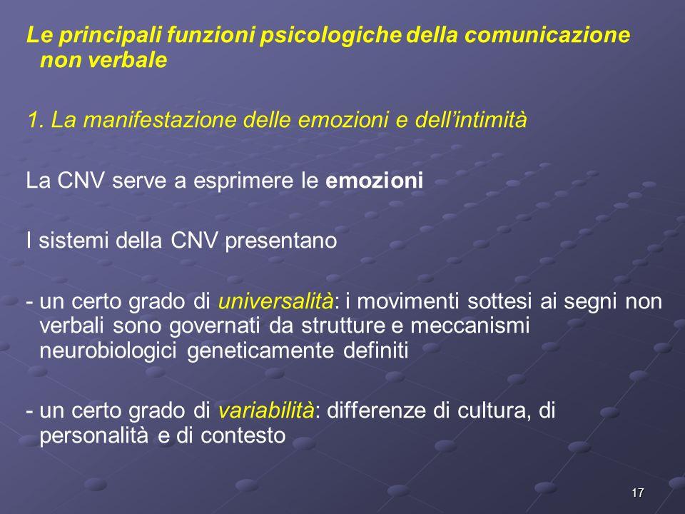 17 Le principali funzioni psicologiche della comunicazione non verbale 1. La manifestazione delle emozioni e dellintimità La CNV serve a esprimere le
